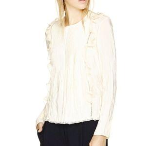Aritzia Wilfred clématite ruffled pintuck blouse